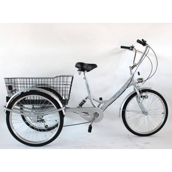 "Adults suspension tricycle, in Silver 24"" wheels, 6-speed shimano gears"