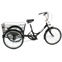 "Adults suspension tricycle, in Black 24"" wheels, 6-speed shimano gears"
