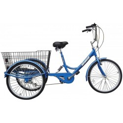 "Adults suspension tricycle, in Blue 24"" wheels, 6-speed shimano gears"