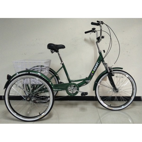 """Adults folding tricycle, in Green 24"""" wheels, 6-speed shimano gears"""