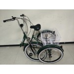 "Adults electric folding tricycle, in Dark Green 24"" wheels, 6-speed shimano gears"