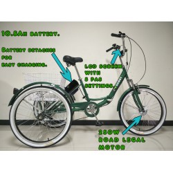 """Adults electric folding tricycle, in Dark Green 24"""" wheels, 6-speed shimano gears"""