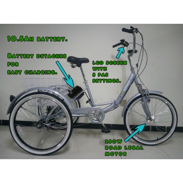 """Adults electric folding tricycle, in Grey 24"""" wheels, 6-speed shimano gears"""