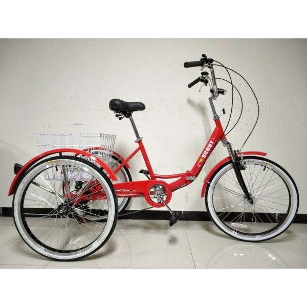 """Adults folding tricycle, in Red 24"""" wheels, 6-speed shimano gears"""