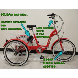 """Adults electric folding tricycle, in Red 24"""" wheels, 6-speed shimano gears"""