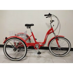 "Adults folding tricycle, in Red 24"" wheels, 6-speed shimano gears"