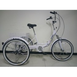 "Adults folding tricycle, in White, 24"" wheels, 6-speed shimano gears"