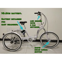 """Adults electric folding tricycle, in White 24"""" wheels, 6-speed shimano gears"""
