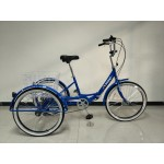 "Adults folding tricycle, in Blue 24"" wheels, 6-speed shimano gears"