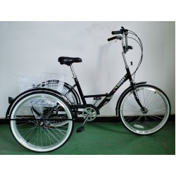"Adults folding tricycle, in Black 24"" wheels, 6-speed shimano gears"