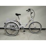 "Adults folding tricycle, in White 24"" wheels, 6-speed shimano gears"