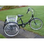 """Adults folding tricycle, in Black 24"""" wheels, 6-speed shimano gears"""