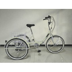 """Adults folding tricycle, in Cream 24"""" wheels, 6-speed shimano gears"""