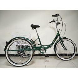 "Adults folding tricycle, in Green 24"" wheels, 6-speed shimano gears"