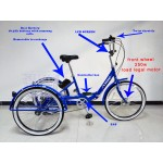 "Adults electric folding tricycle, in Blue 24"" wheels, 6-speed shimano gears"