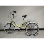 "Adults folding tricycle, in Cream 24"" wheels, 6-speed shimano gears, front suspension"