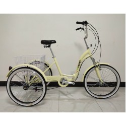 """Adults folding tricycle, in Cream 24"""" wheels, 6-speed shimano gears, front suspension"""