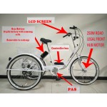 "Adults electric folding tricycle, in White 24"" wheels, 6-speed shimano gears"