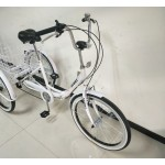 """Adults folding tricycle, in White, 24"""" wheels, 6-speed shimano gears"""